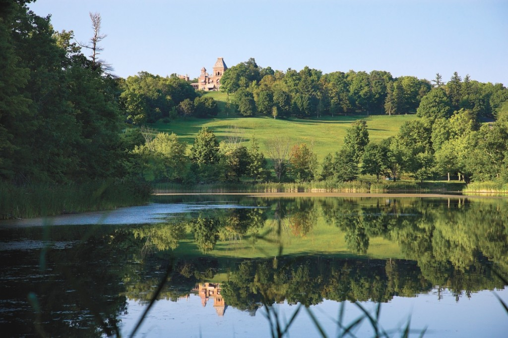 View across the lake to the Main House, Frederic Edwin Church's Olana, Hudson, N.Y., 2010, ©Peter Aaron/OTTO.